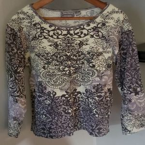 Long sleeve beaded top, size small